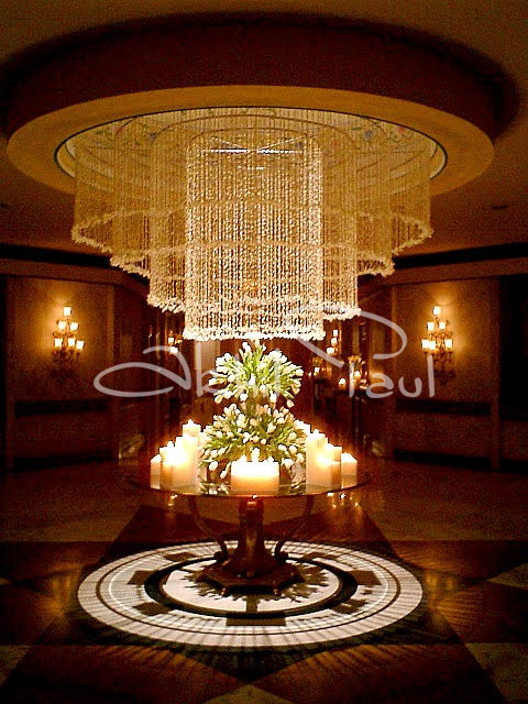 Round Table Chandelier over the Centrepiece