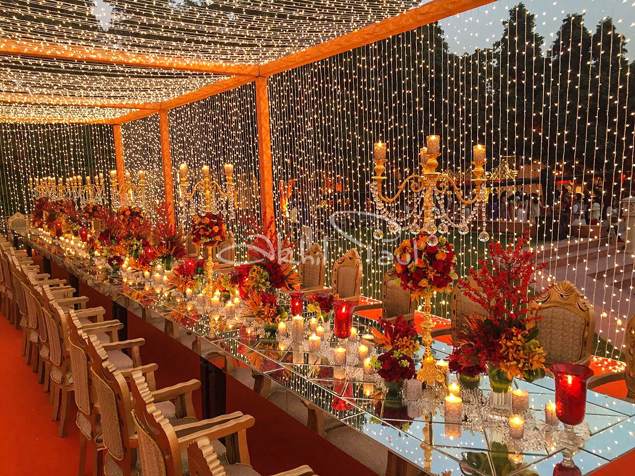 Outdoor Long Dinner Table Decor with Fowers & Lights
